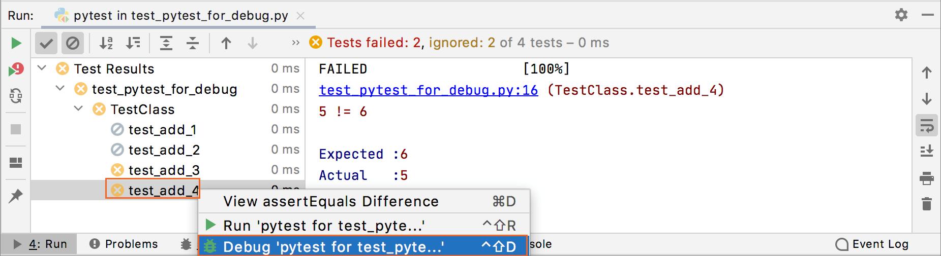 Select a failed test to debug