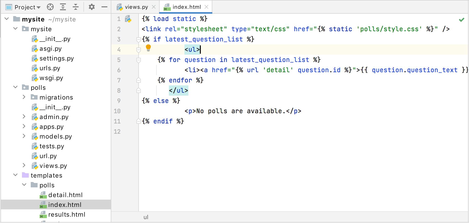 Opened index.html
