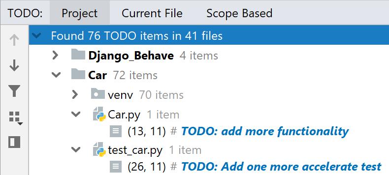 The TODO tool window
