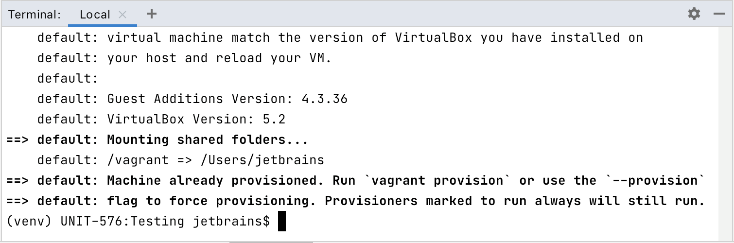 Terminal output for Vagrant up