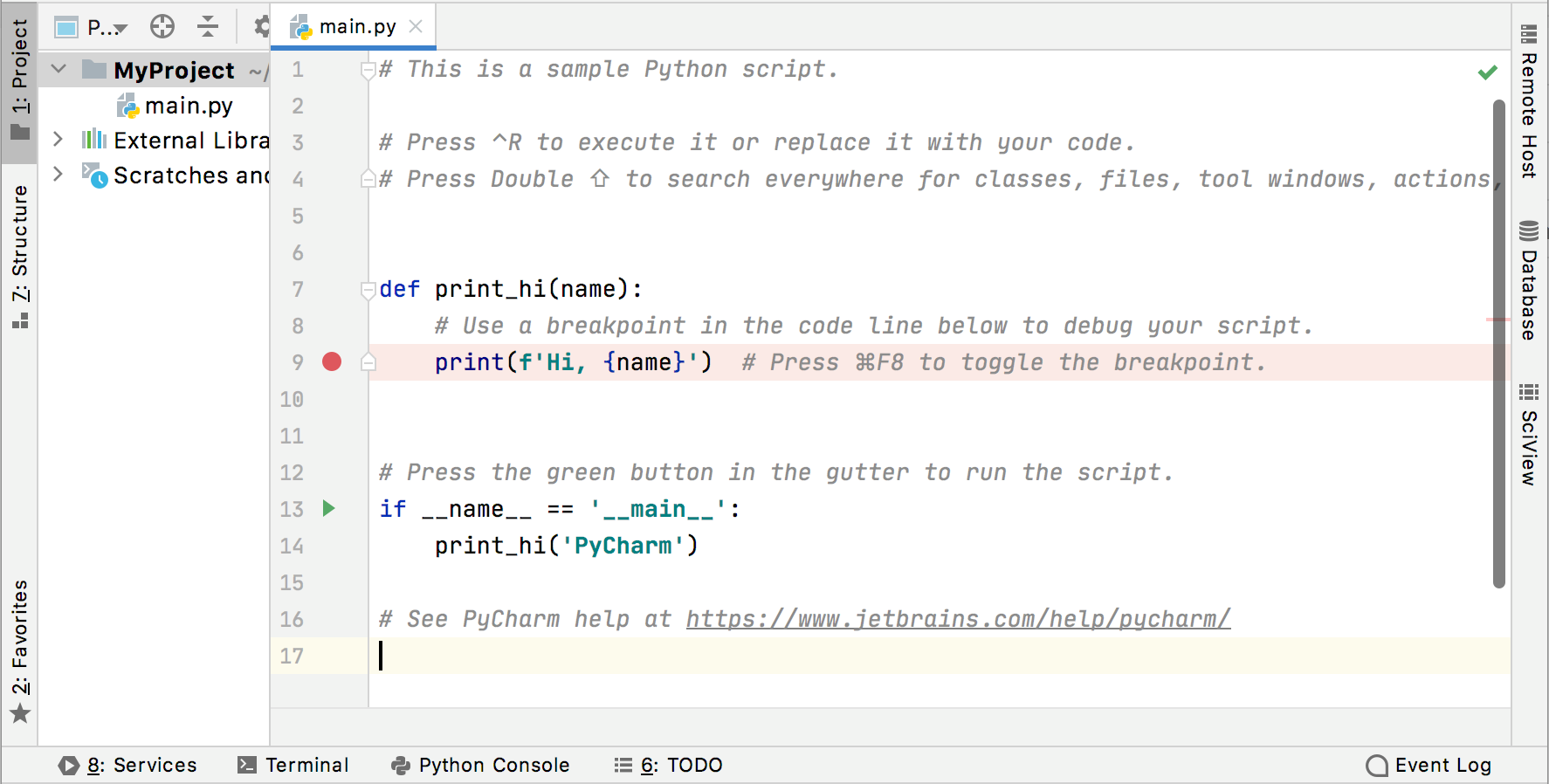 Welcome script in the Python project