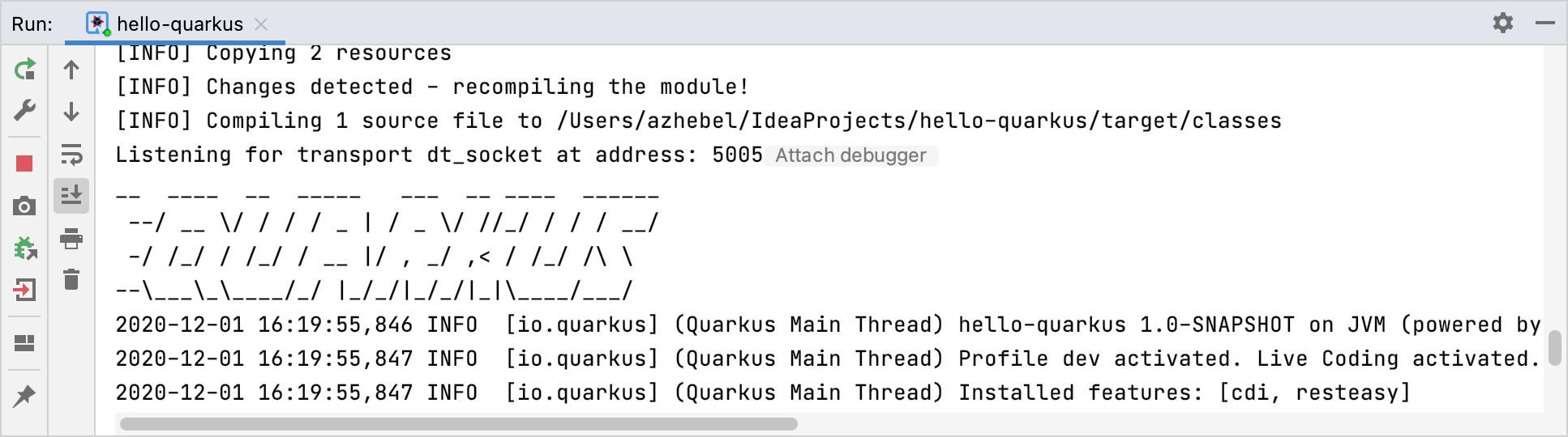 Quarkus application running in the Run tool window