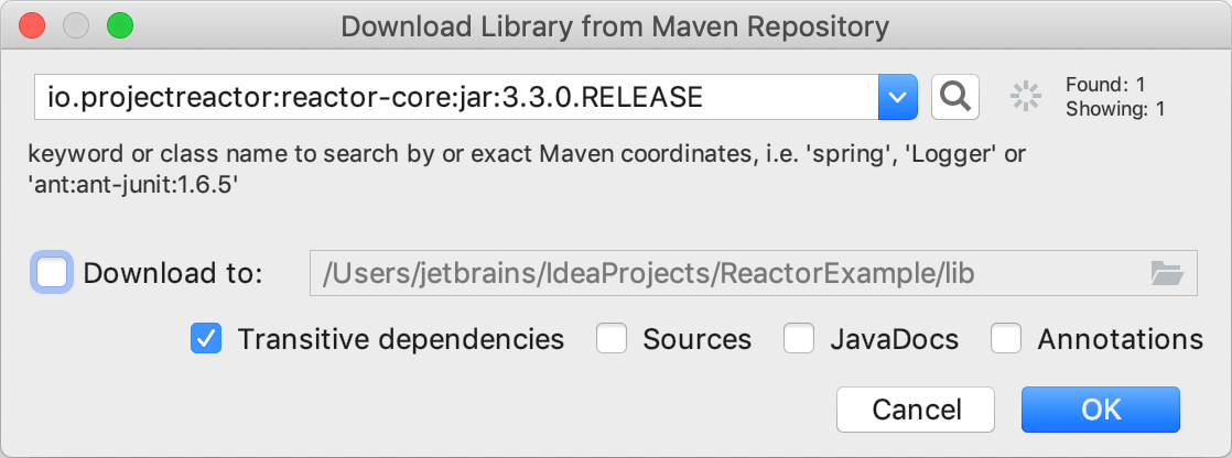 Adding the Reactor library from Maven