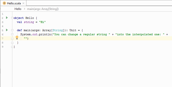 Convert to interpolated string