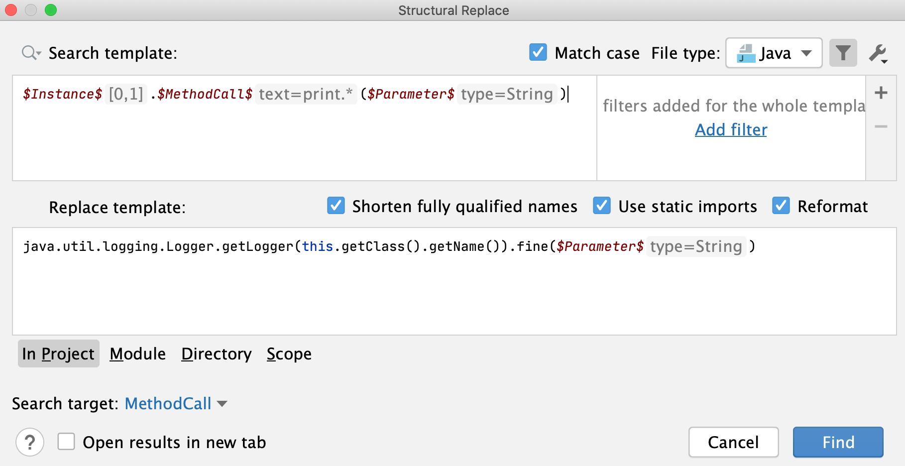 The Structural Replace dialog: replace pattern