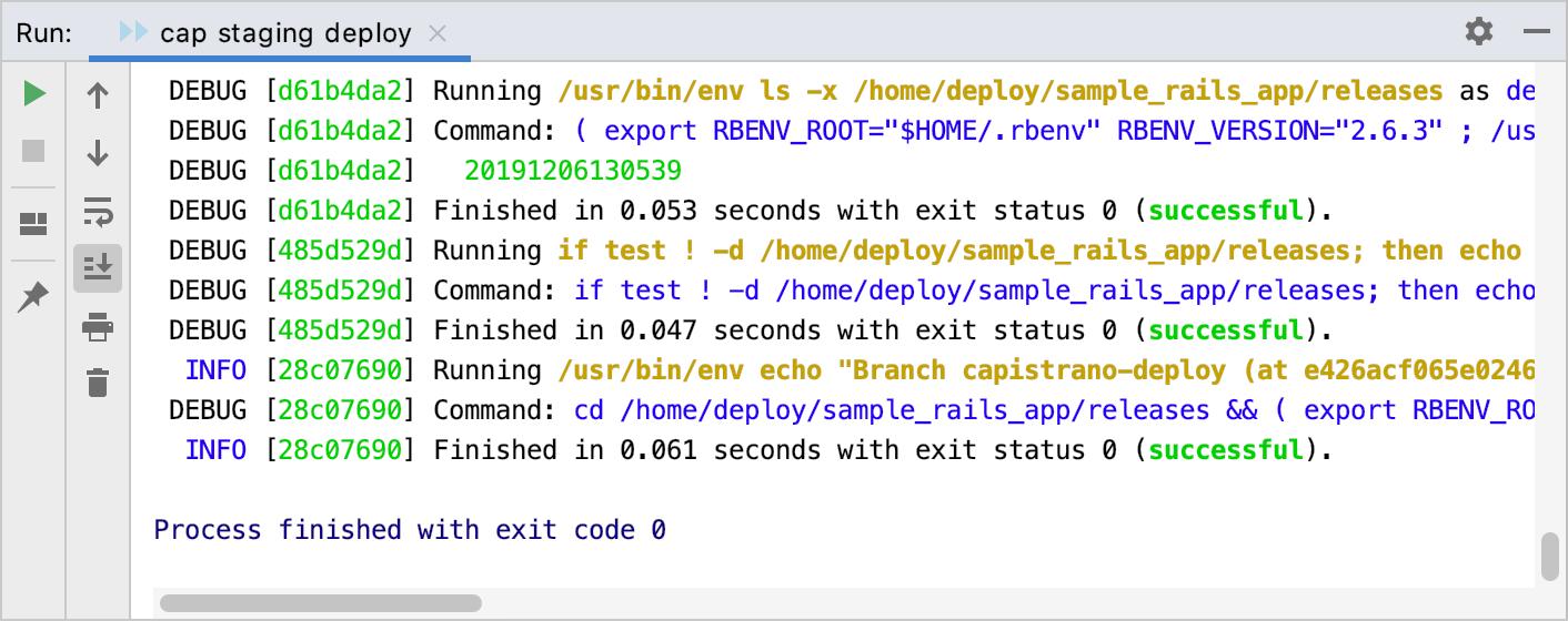 Run tool window: deployment