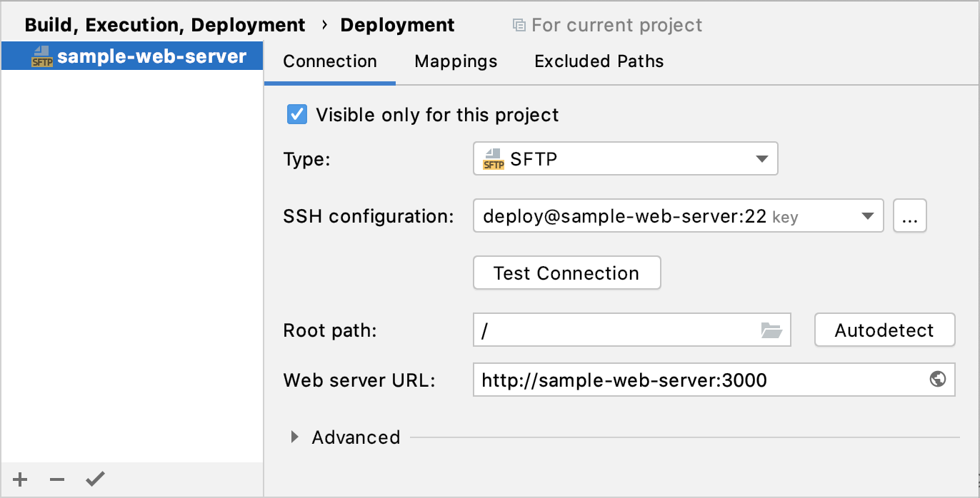 Deployment configuration: Connection tab