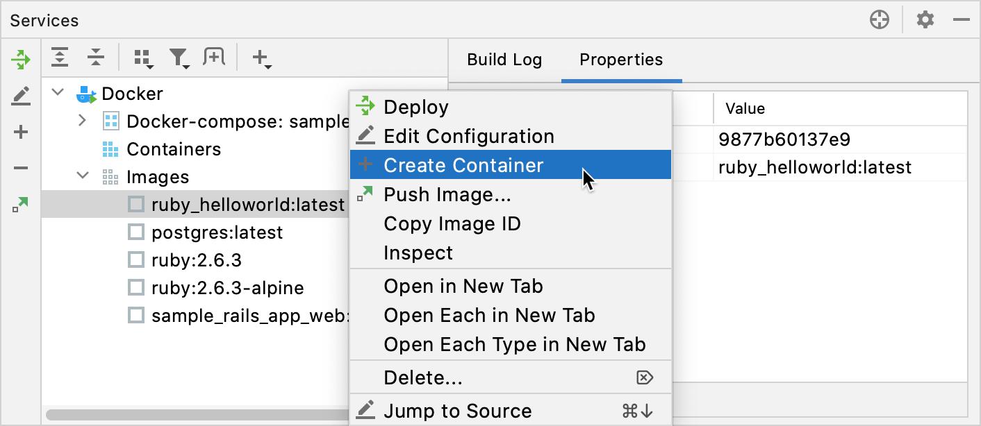 The Create container context menu item
