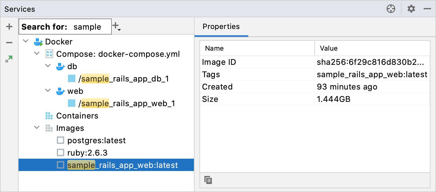 Search for a docker image in the Services tool window