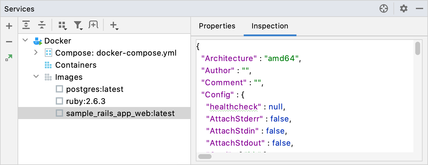 Docker image Inspection tab