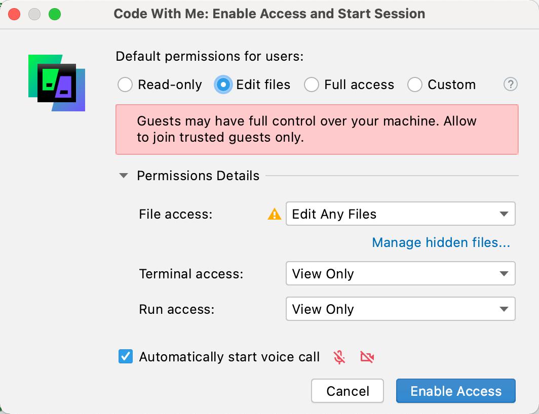 Edit files permissions