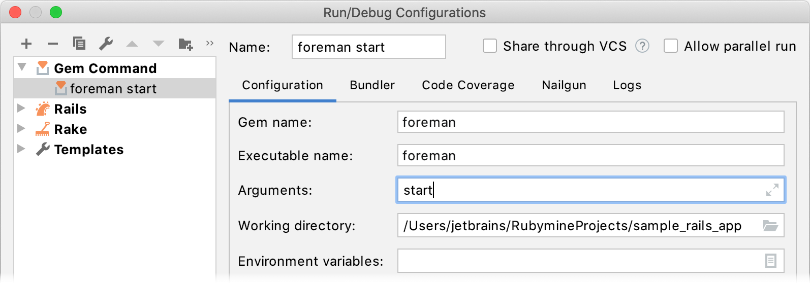 Foreman run/debug configuration