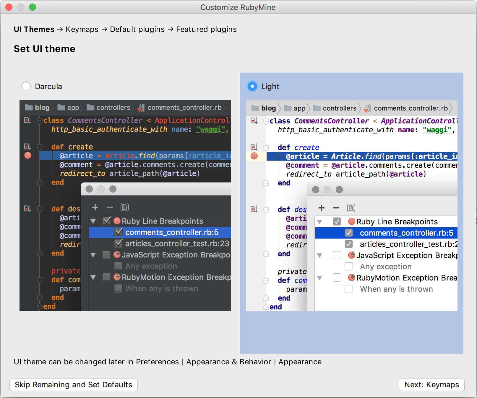 Select the UI theme