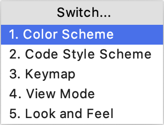 Switch scheme popup