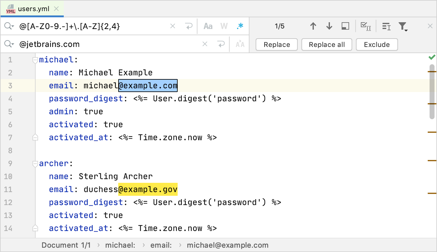 Regex search and replace fields