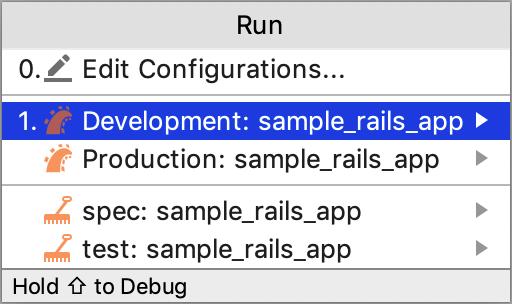 Select run configuration