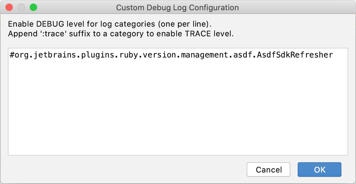 Custom Debug Log Configuration dialog
