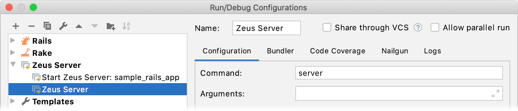 Run/Debug Configuration Zeus