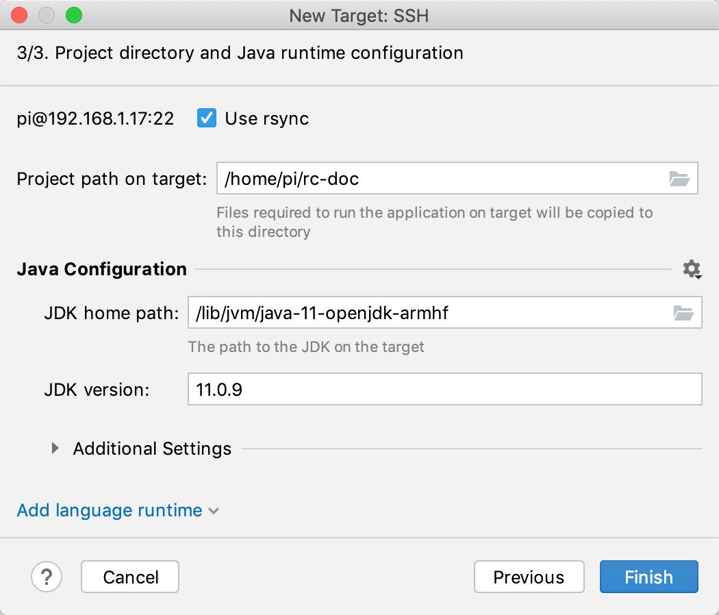 Run targets ssh runtime