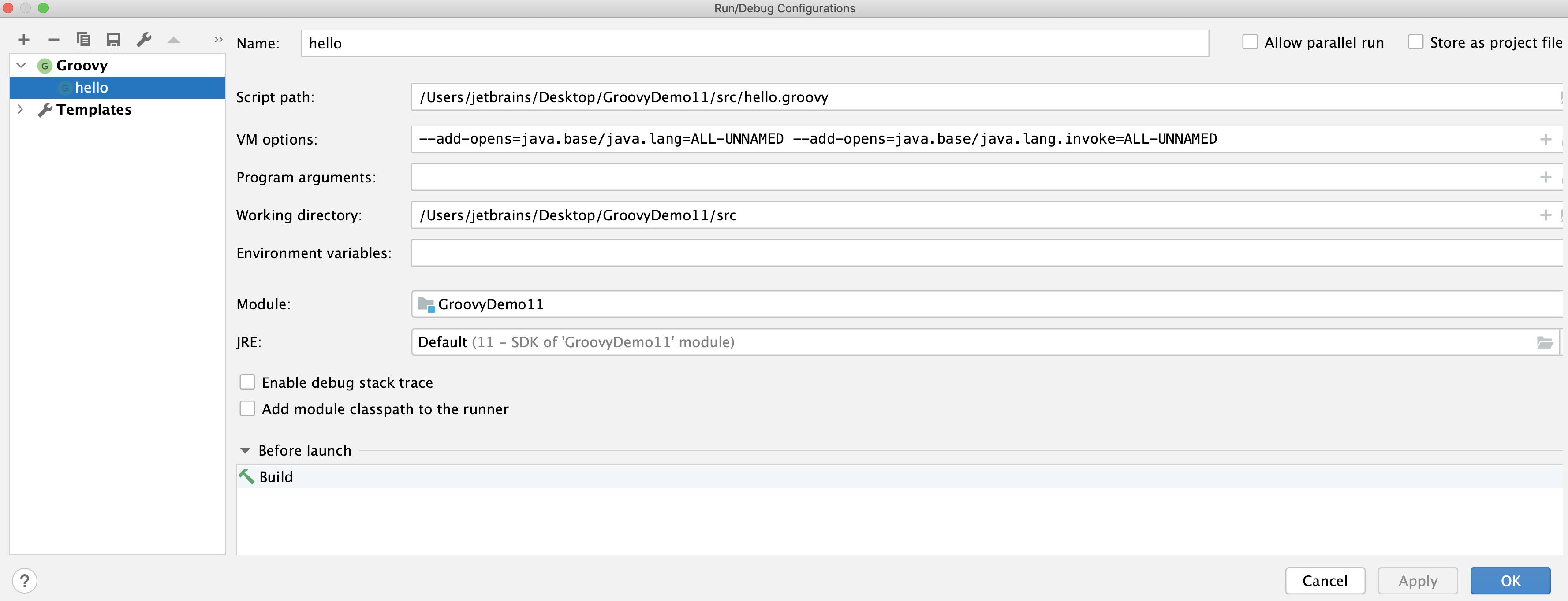 Groovy run configuration dialog