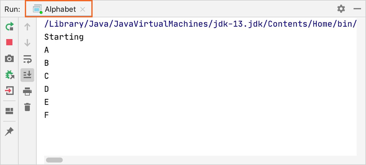 A tab in the Run tool window