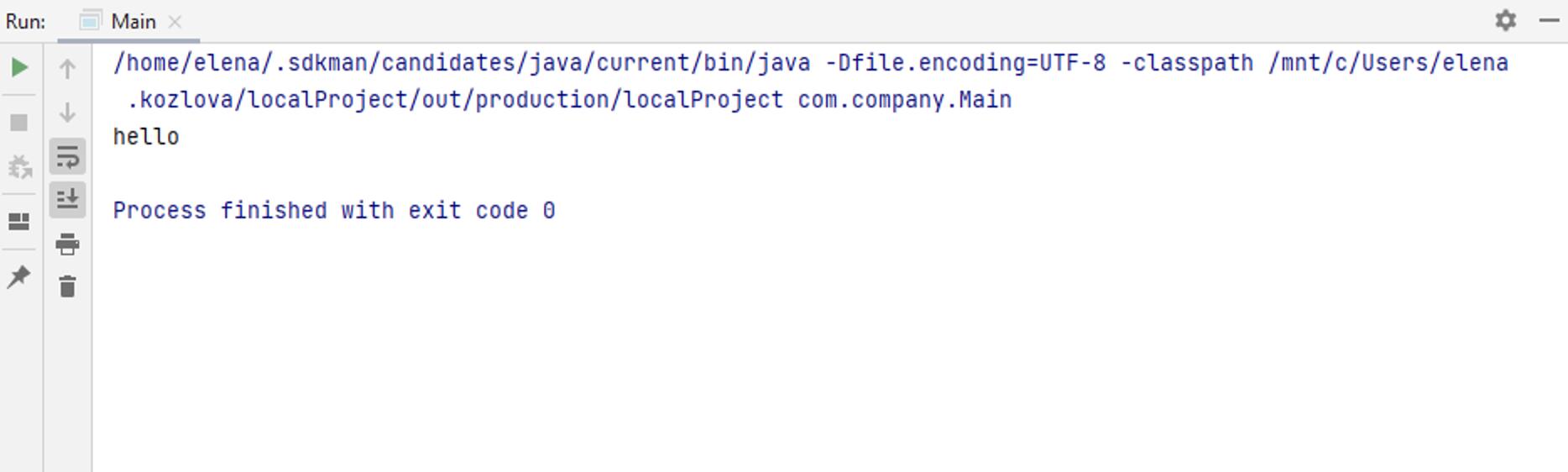 Run tool window: WSL output