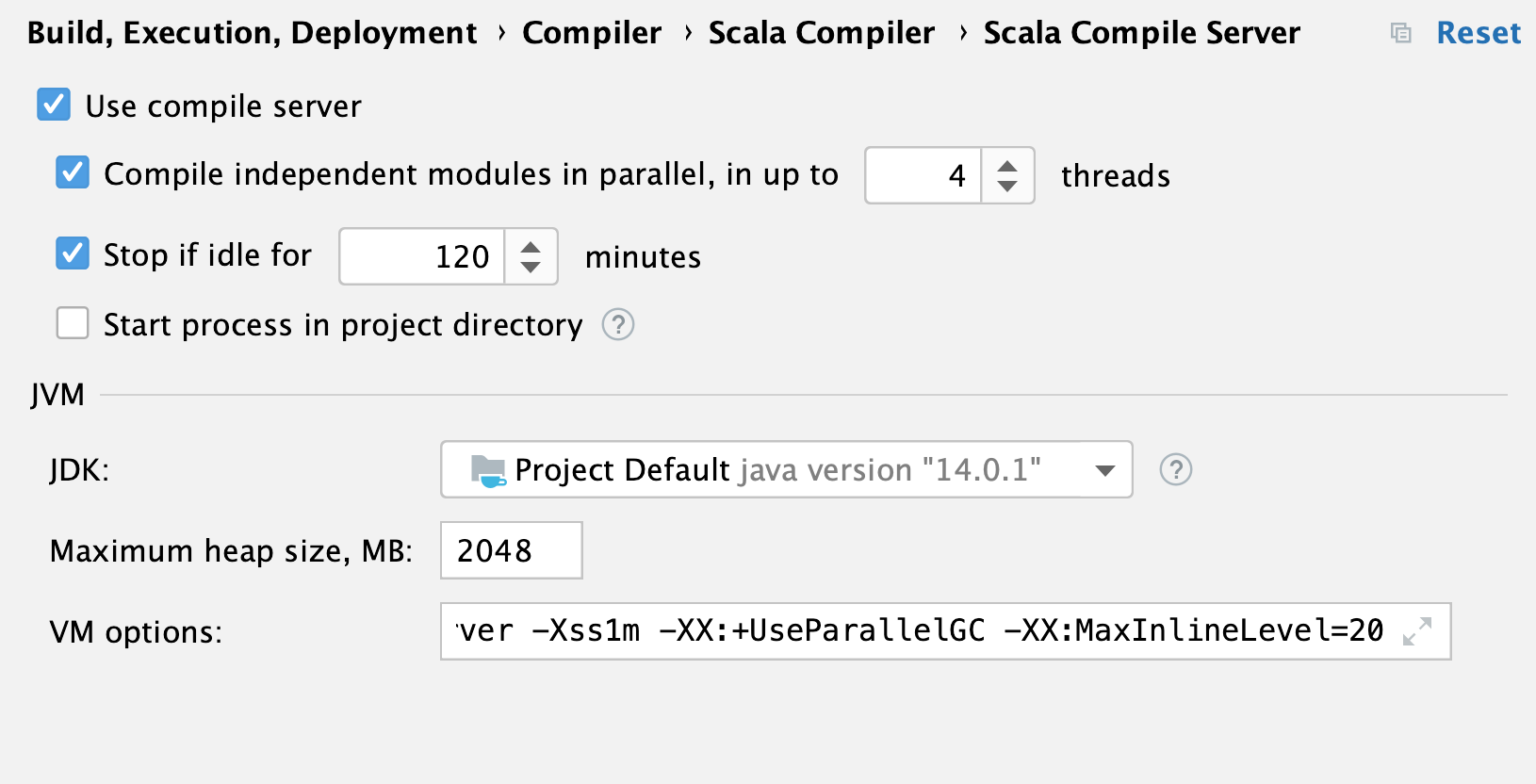 the Scala Compiler Server settings