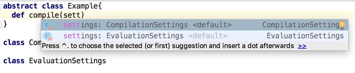 Type suggestions for parameters