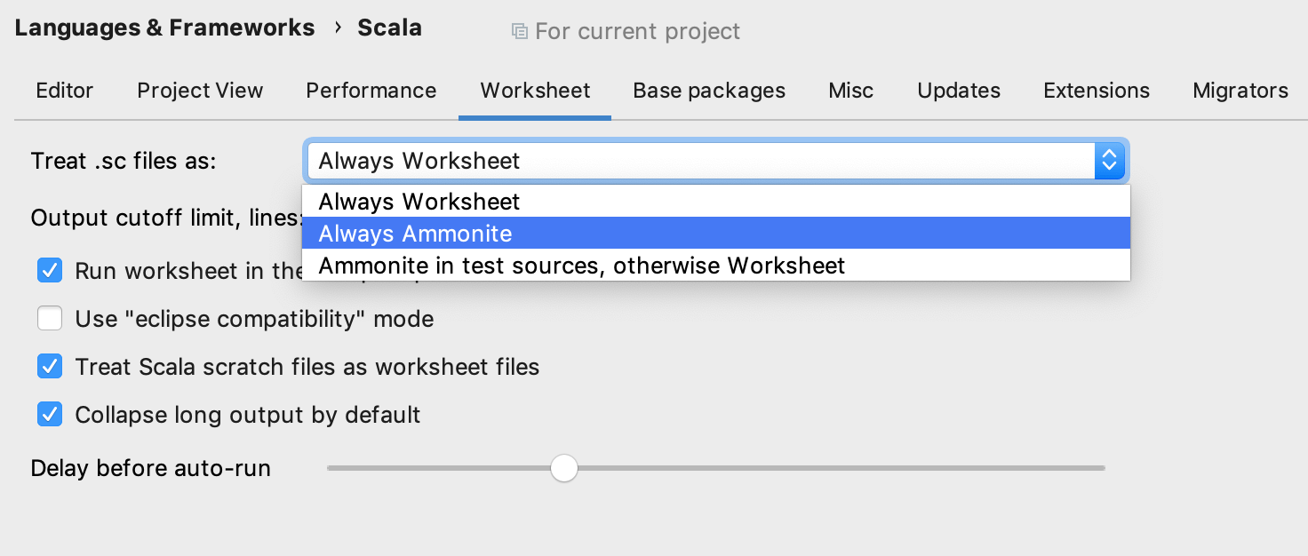 Scala settings