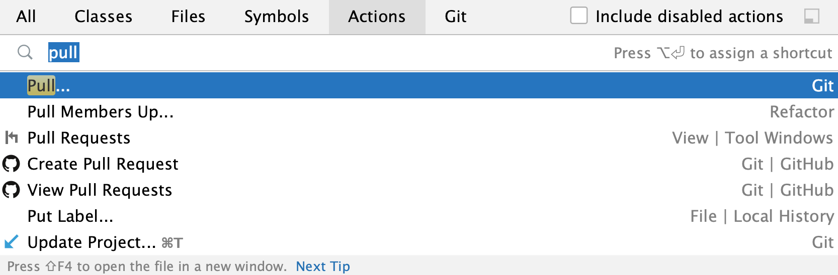 the Search Everywhere window: Pull action