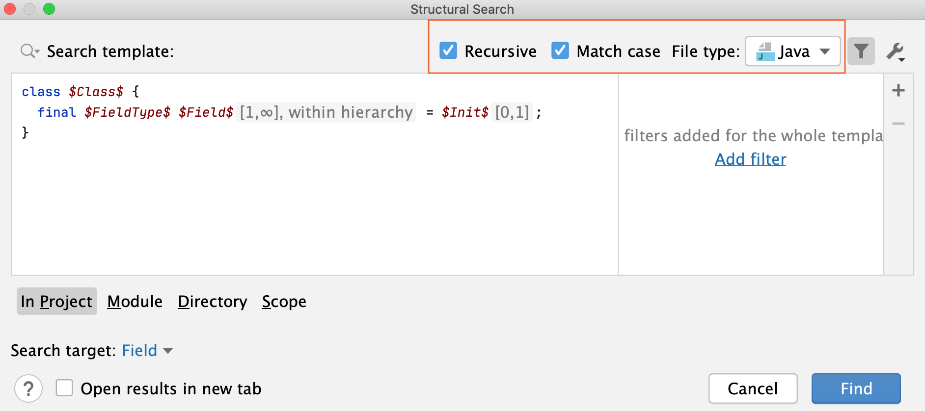Structural Search dialog: narrow search