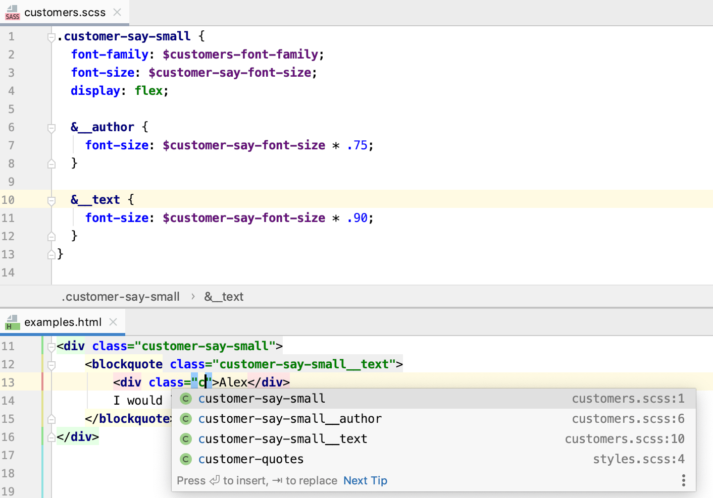 Completion for Sass and SCSS selectors