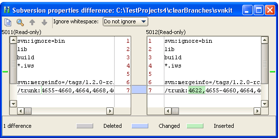Svn properties diff local results