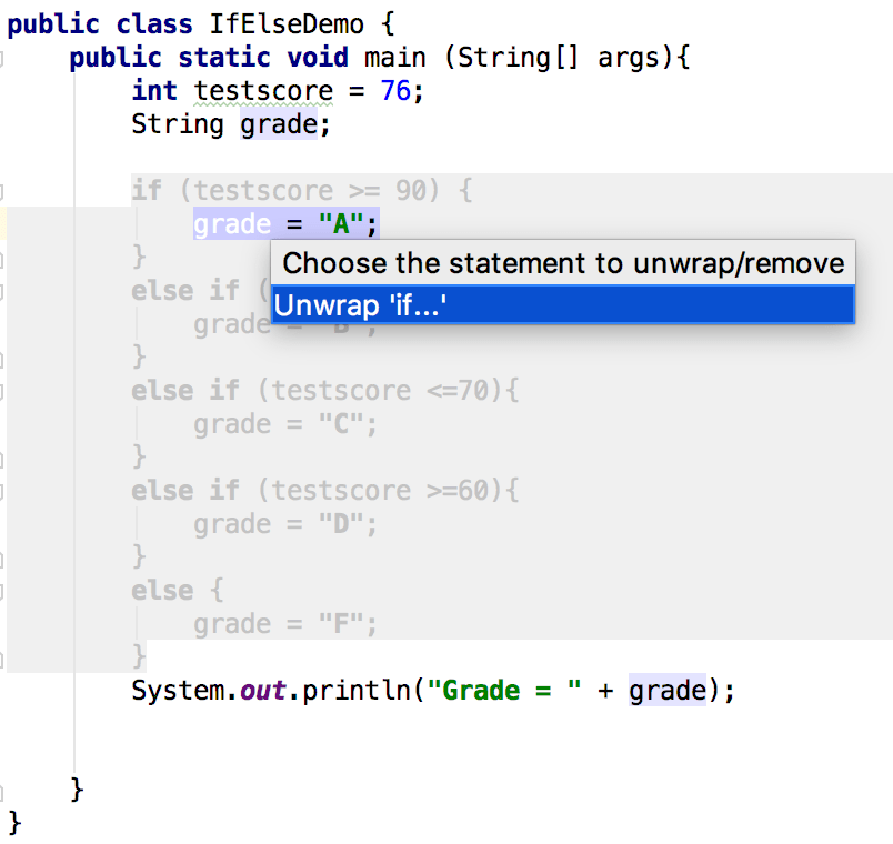 Select a statement to unwrap