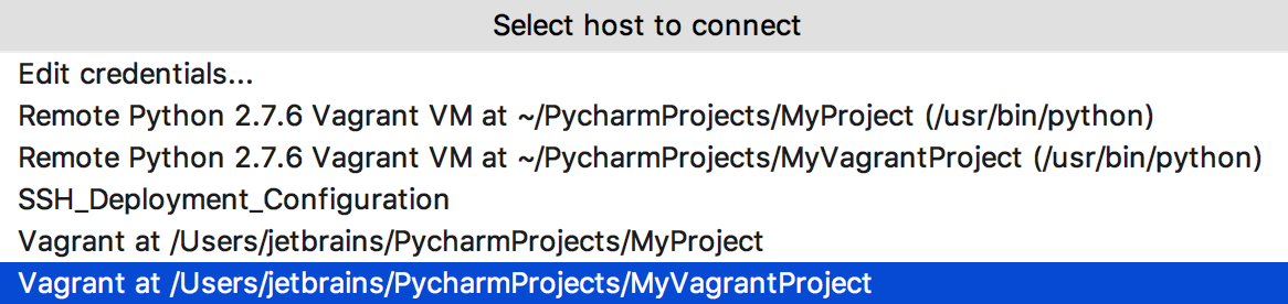 Select a host to connect