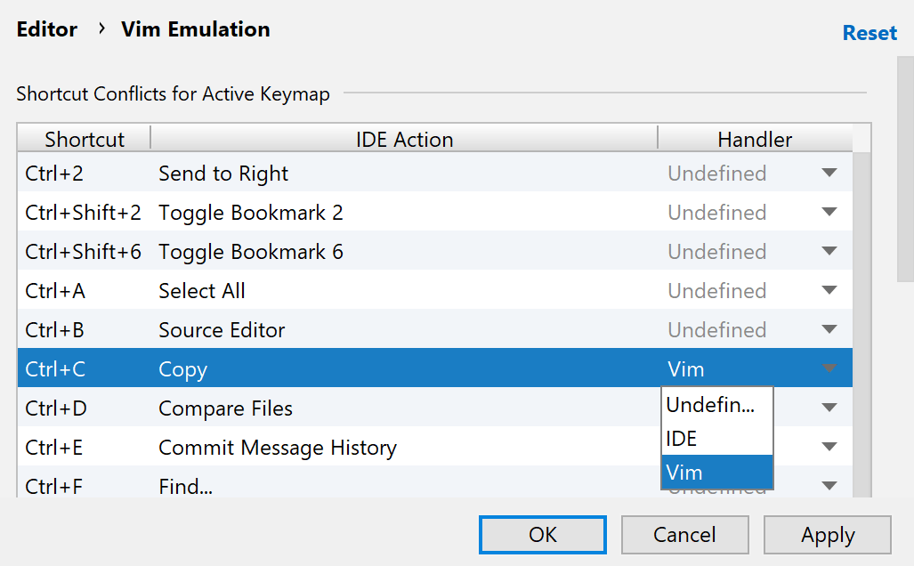 Vim Emulation settings