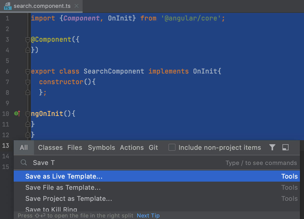Select code to save as live template