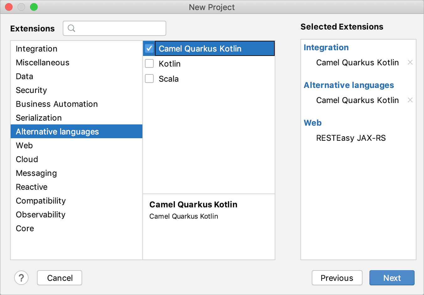 Selecting extensions for the new Quarkus project