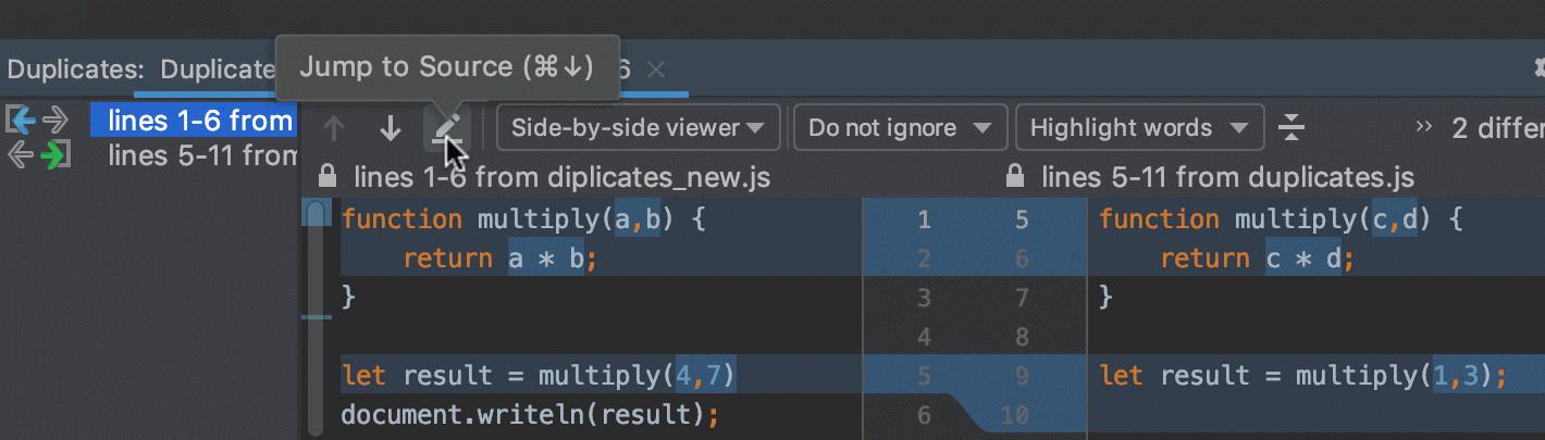 Duplicates tool window