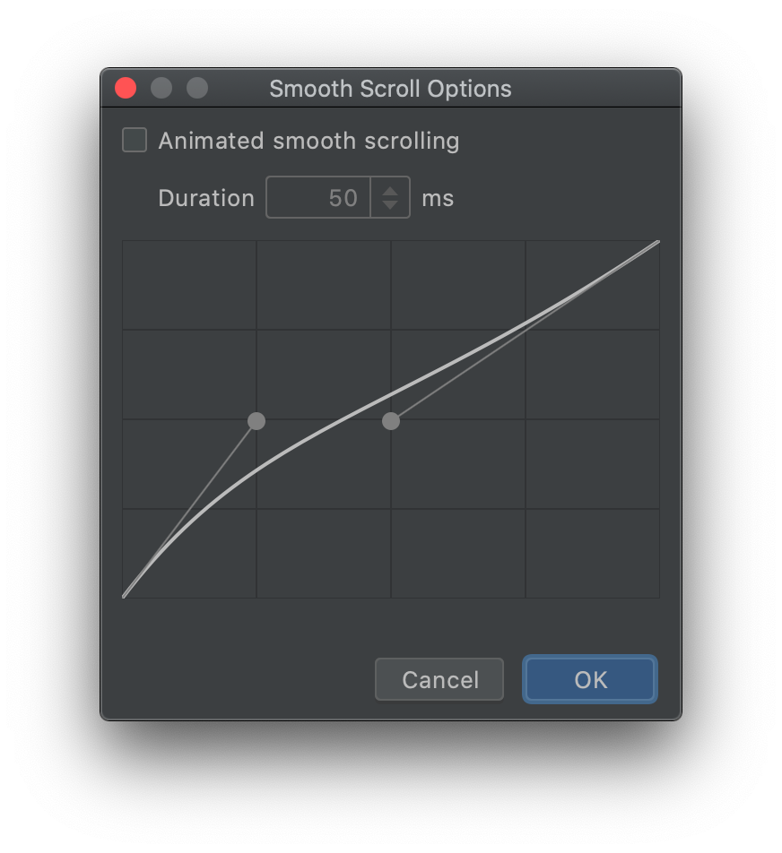 Smoote Scroll Options dialog