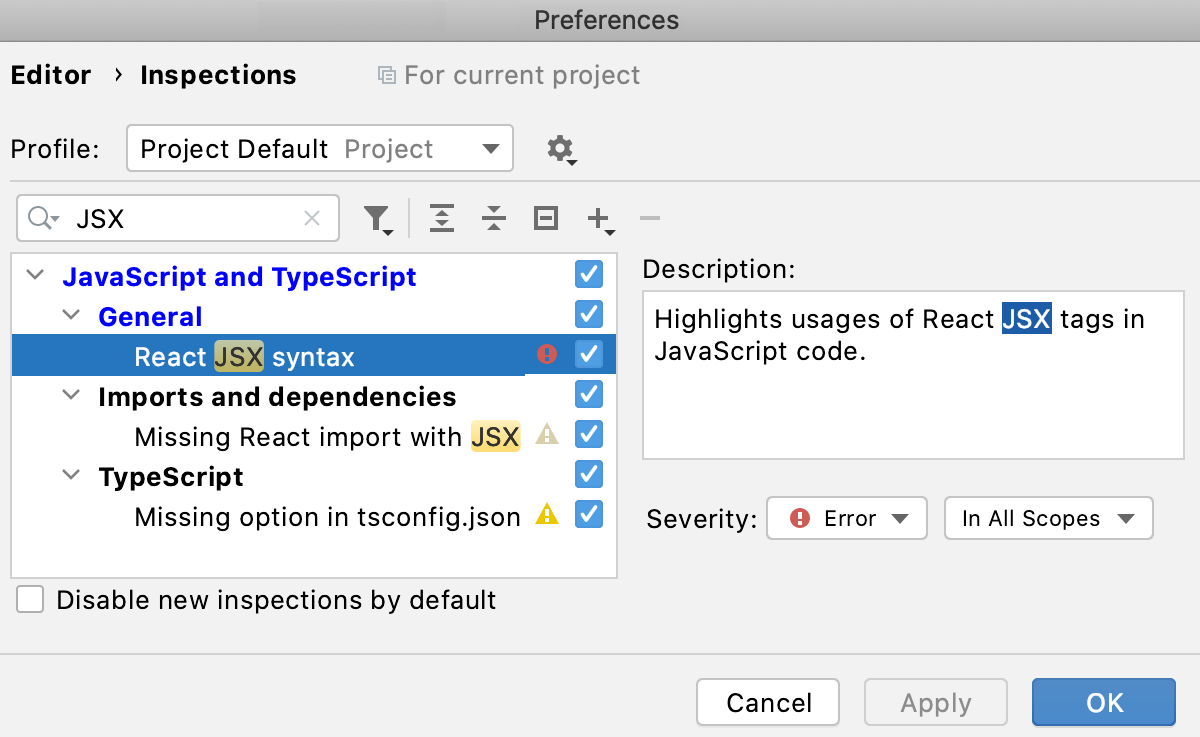 Enable the React JSX syntax inspection