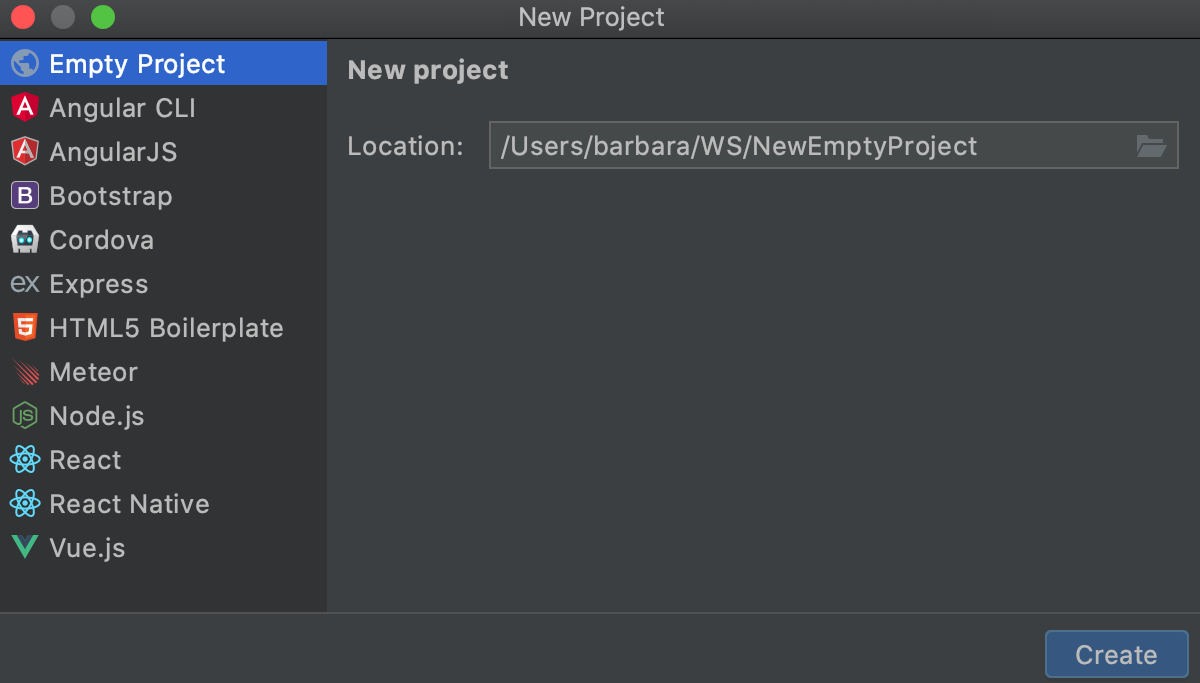 Creating a new empty project