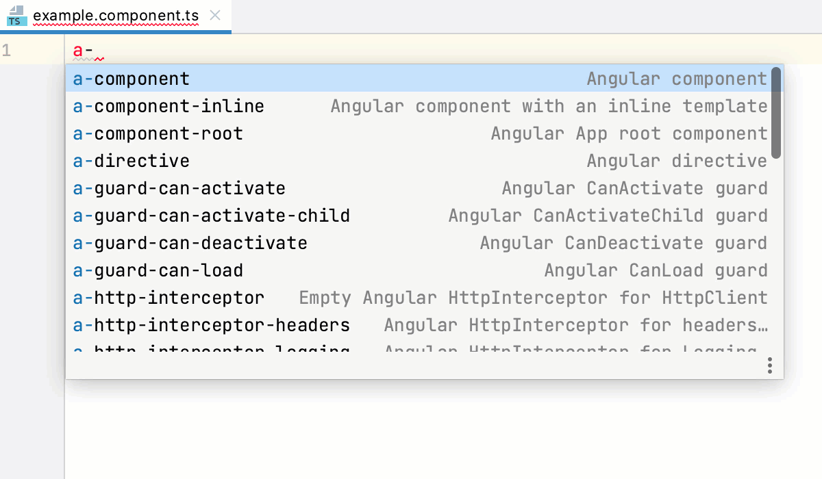 Create an Angular component using a predefined code snippet