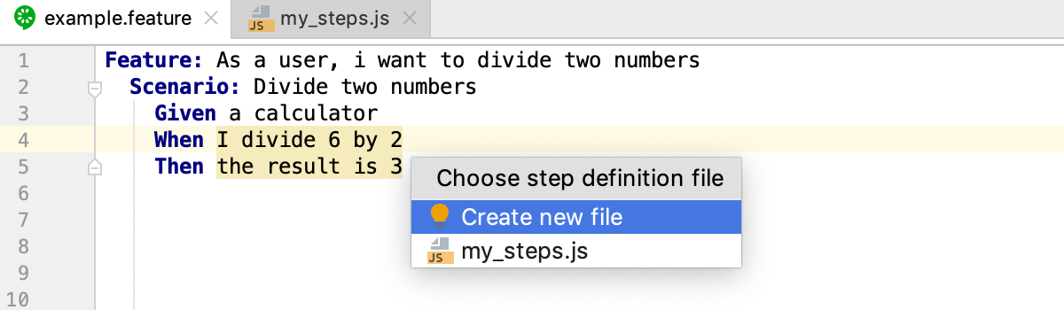 Creating Cucumber.js step definitions: select target file