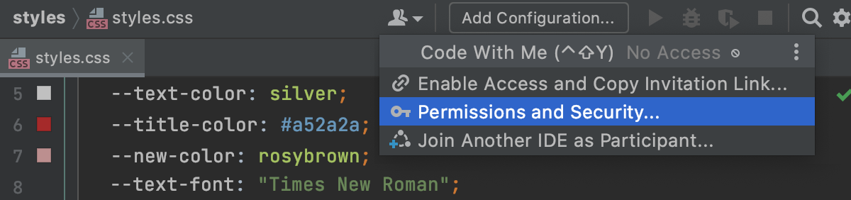 Open Permissions dialog