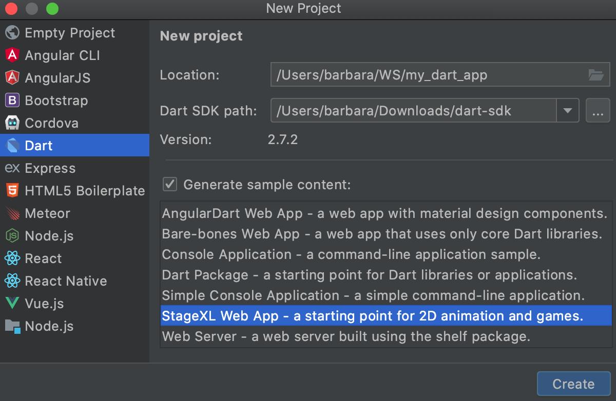 Creating a Dart application