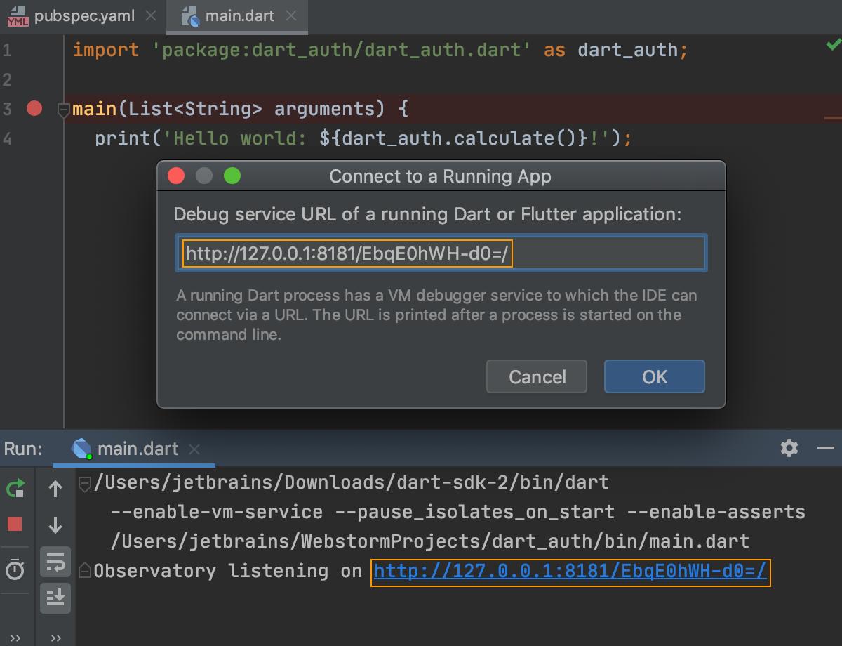 Dart: remote debugging. Paste URL and token