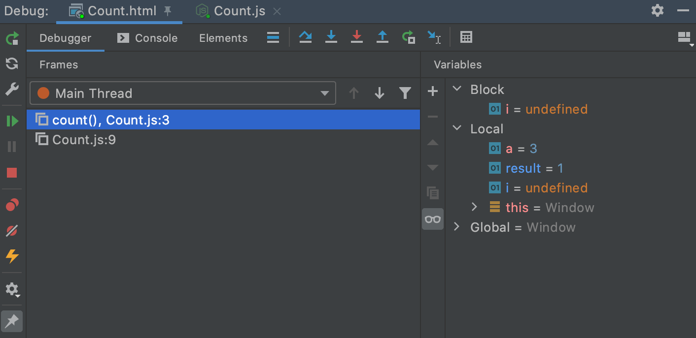 The Variables tab shows you the variables visible from the current execution point