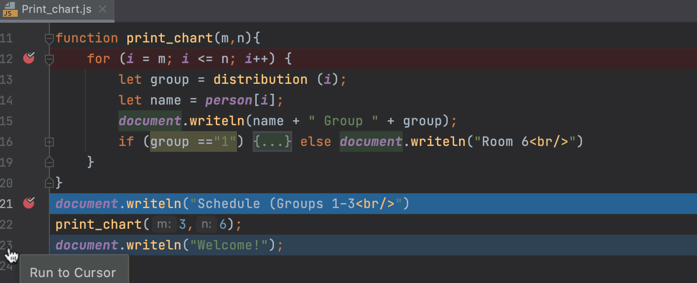 Run to cursor: the debugger stops at the breakpoint in the skipped code