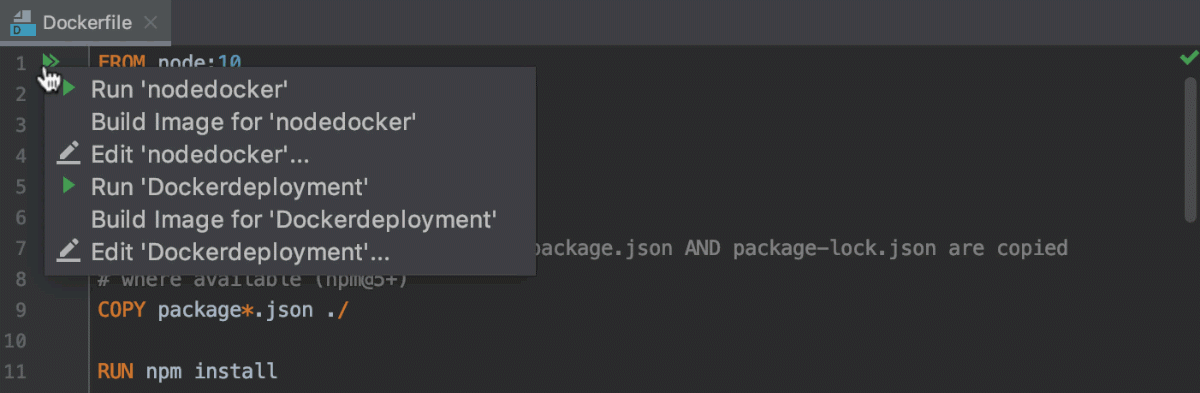 Open the Edit Deployment Configuration dialog from the Dockerfile